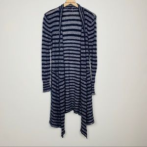 Free People | Long Waterfall Blue Striped Cardigan